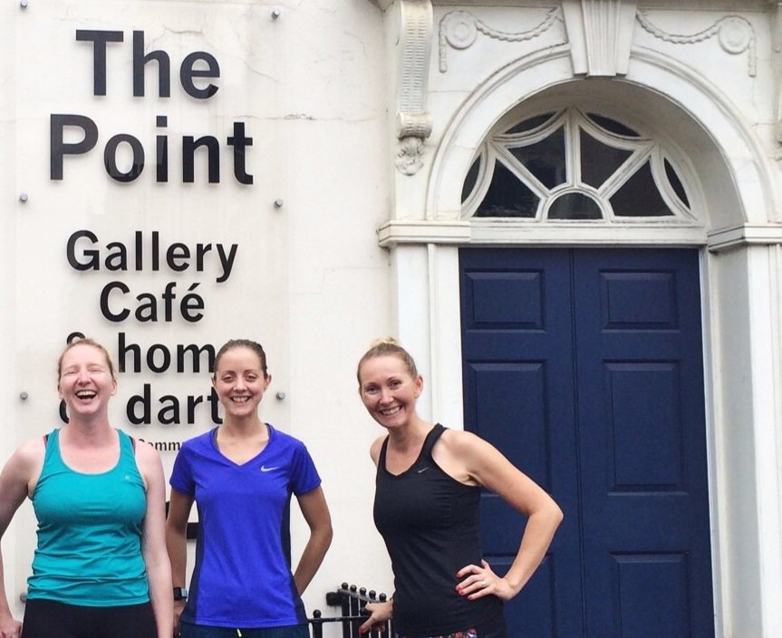 Members of darts staff pose outside The Point in Doncaster as they set off for a run to raise money for the charity
