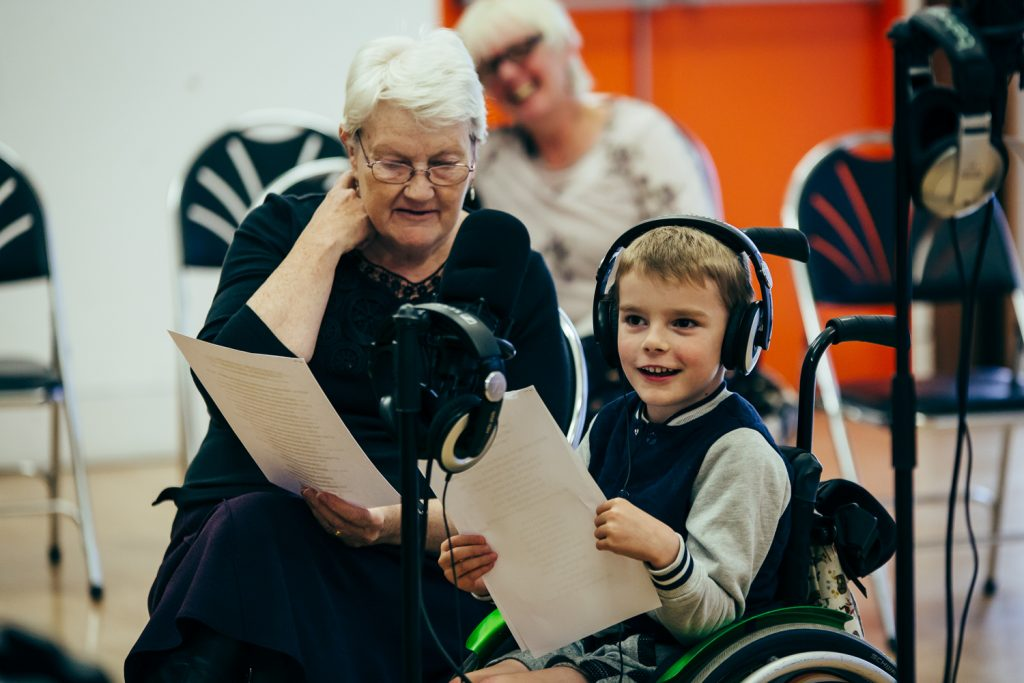 grandmother and grandson in a wheelchair having fun at a music workshop at The Point in Doncaster