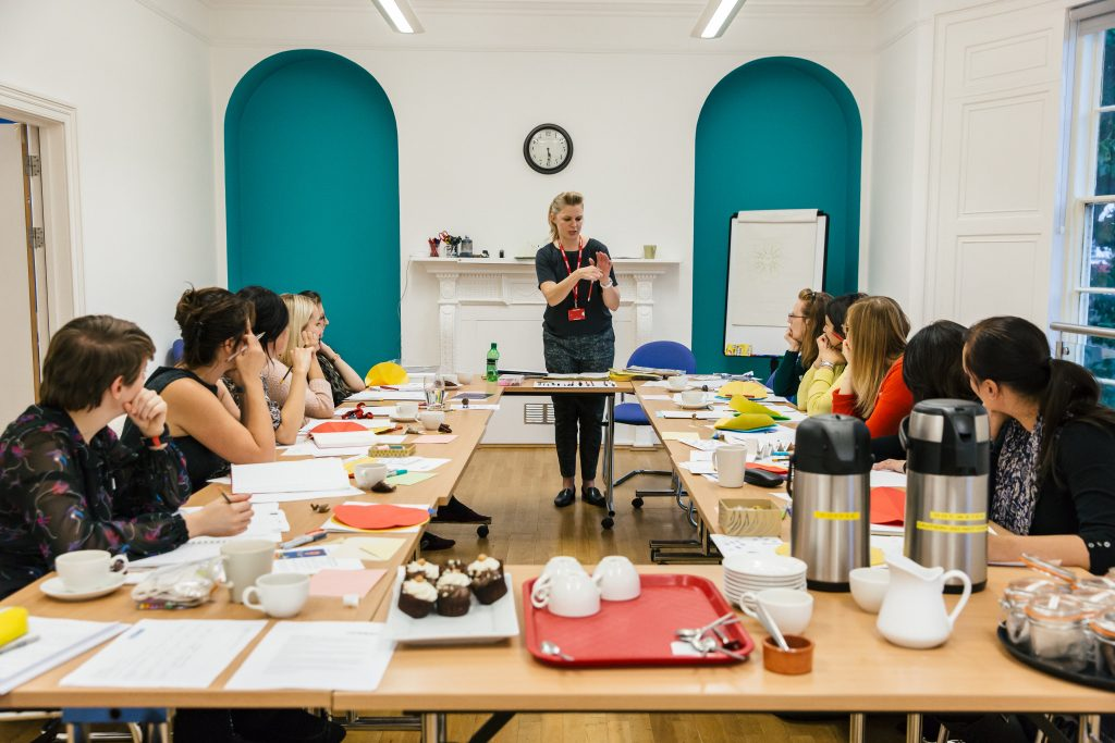 artist Karen Hall leads a CPD session for teachers at The Point in Doncaster