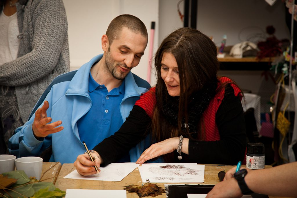 Adults get stuck into creative activities at The Point, Doncaster
