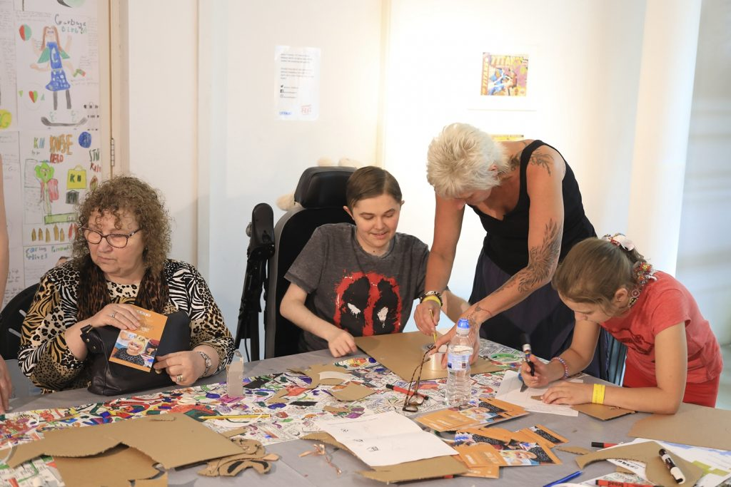 families making creative art together at The Point in Doncaster