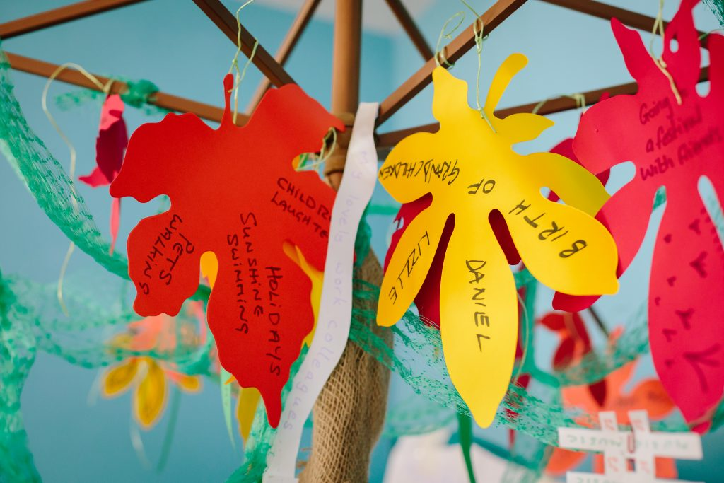 tree of life with red and yellow leaves created as part of darts Doncaster's A Life of My Own project