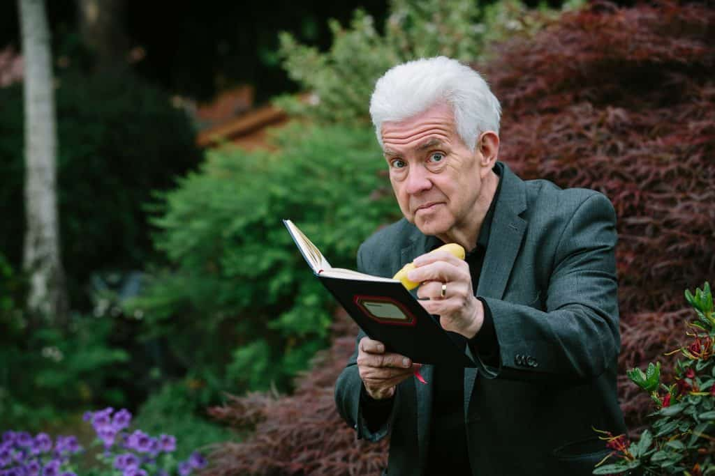 Poet Ian McMillan at home in his garden for darts in Doncaster