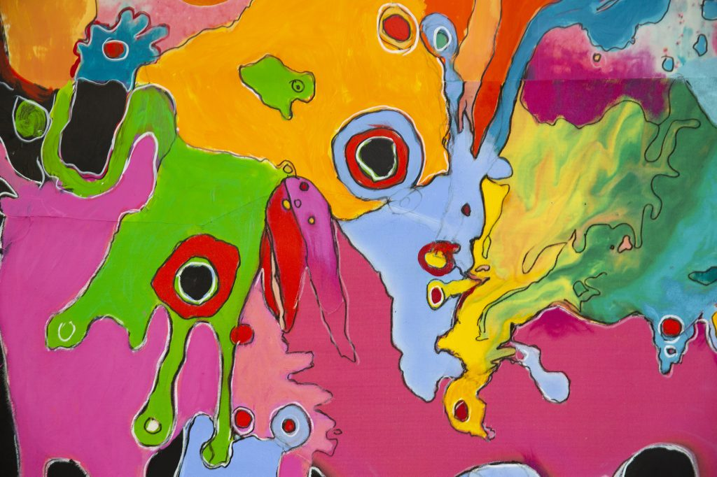 A painting with lots of shapes and colours by artist Kate Sully, exhibited at The Point gallery for darts in Doncaster