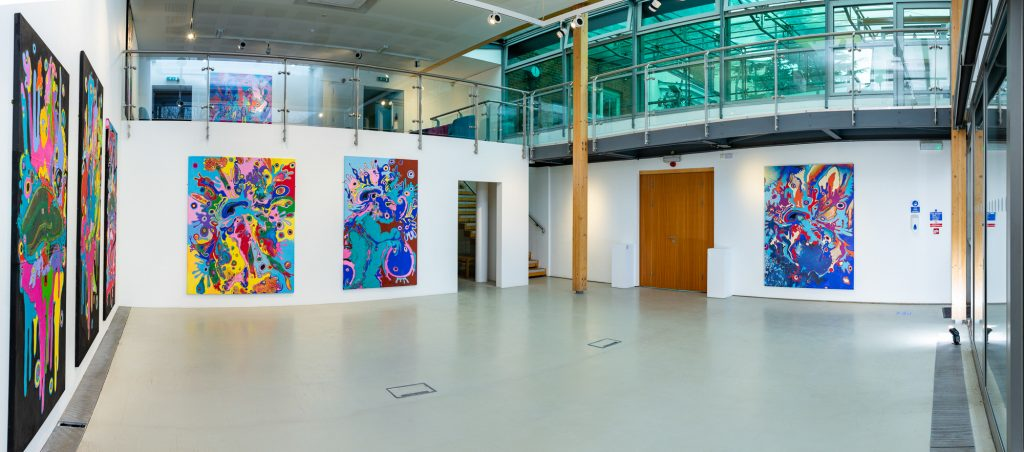 Panoramic photograph of The Art of Disconnection exhibition